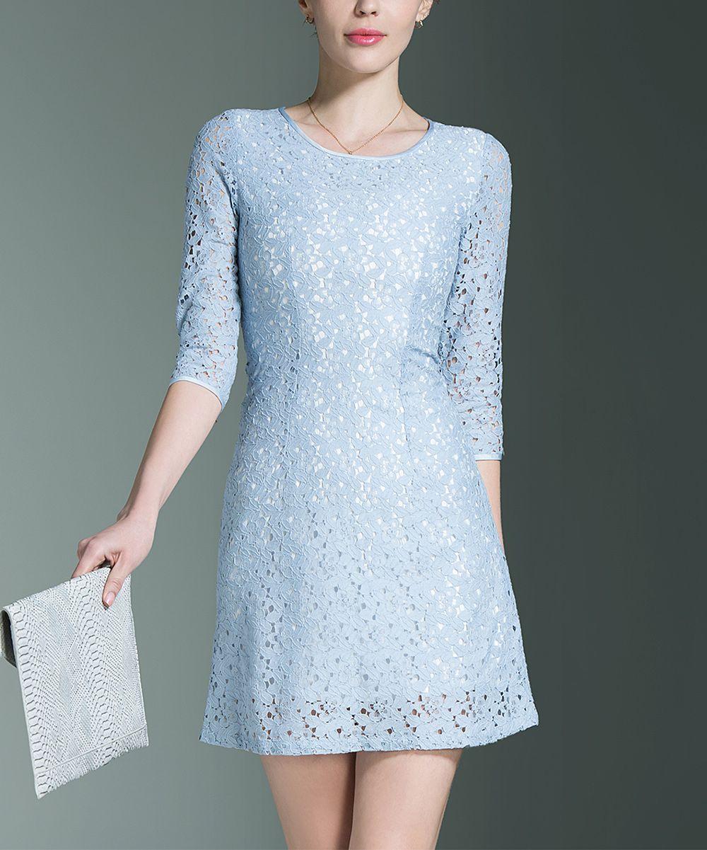 Light Blue Lace-Overlay Sheath Dress - Women  e622739f1