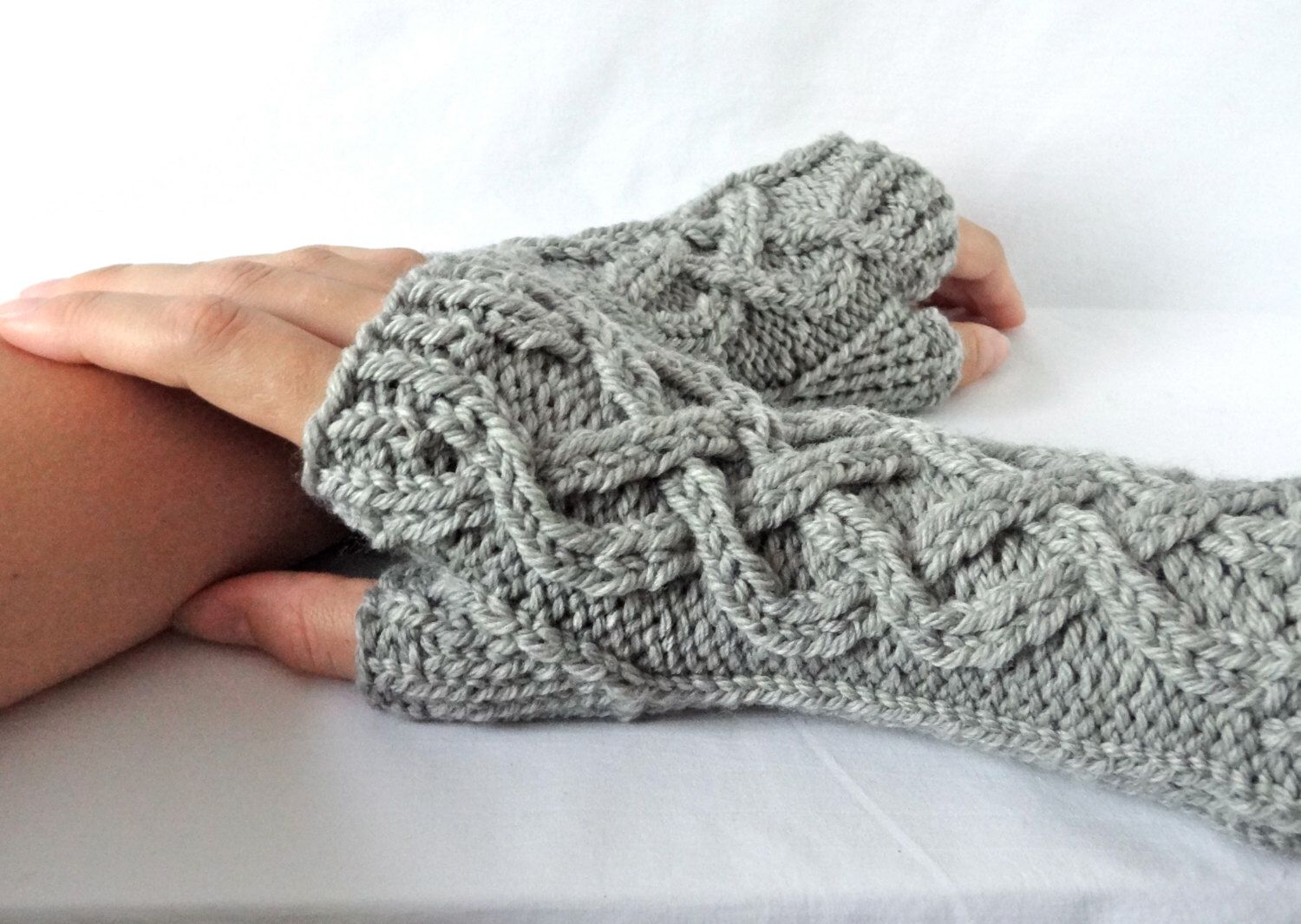 Celtic Cable Knit Fingerless Gloves Custom Knitwear Gifts for Her ...