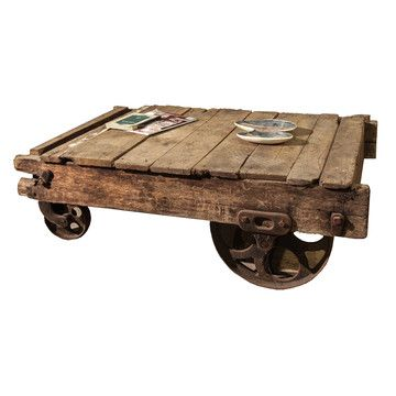 An Ideal Coffee Table Or Plinth This Old School Barn Cart Is Made Of Beautifully Aged Wood Its Original Steel Wheels Are Intact And Facilitate Easy