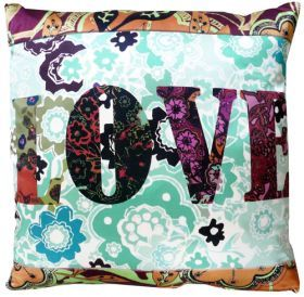 Love cushion. This distinctive print and embroidery design provides the perfect accompaniment to any living room. The designers passion for floral prints, geometric designs and kitsch imagery translate perfectly across her collection of cushions.