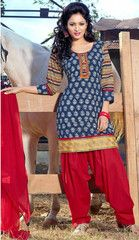 00d2f6a40d3  Blue and red colour  cotton ready made salwar  suits (Size - Medium    Large   XX-Large)