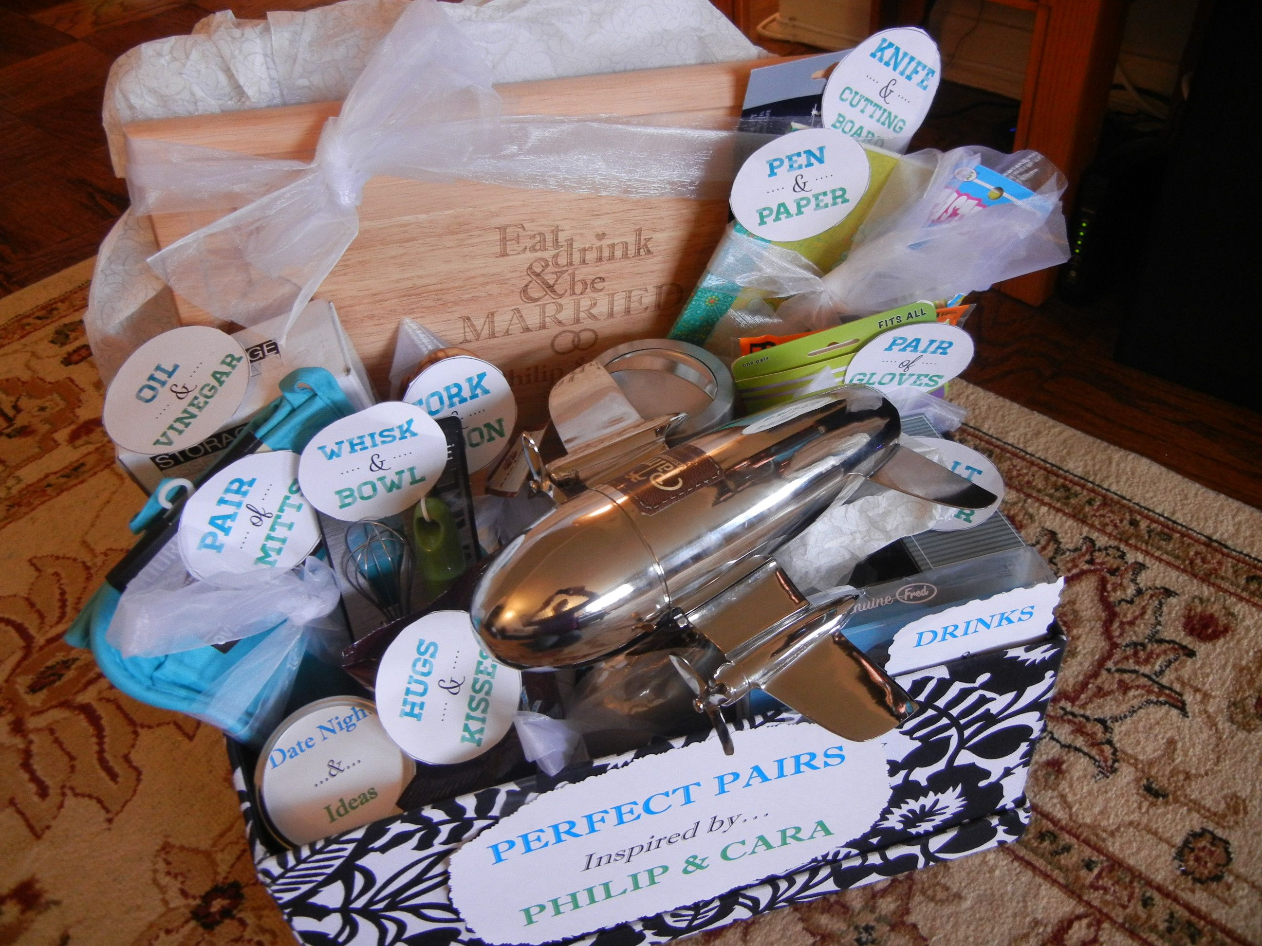 "Bridal Shower gift basket theme ""perfect pair"" (includes"