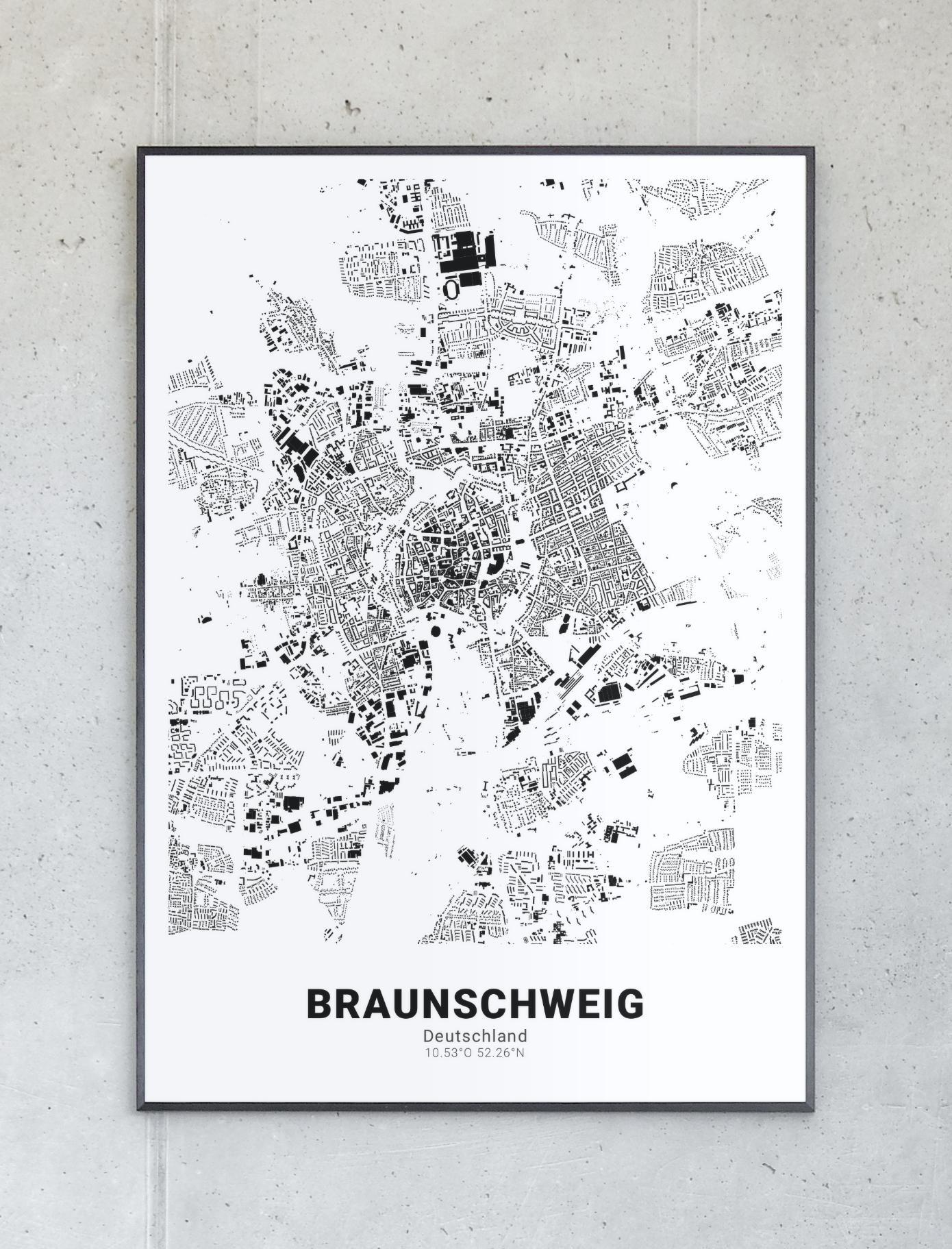 Schwarzplan Von Braunschweig Landkarten Poster Planer Stadtplan