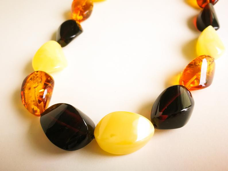 Black Amber Necklace.Baltic Amber Necklace.Amber Jewelry.Handmade Genuine Amber Jewelry.Amber Gift for her