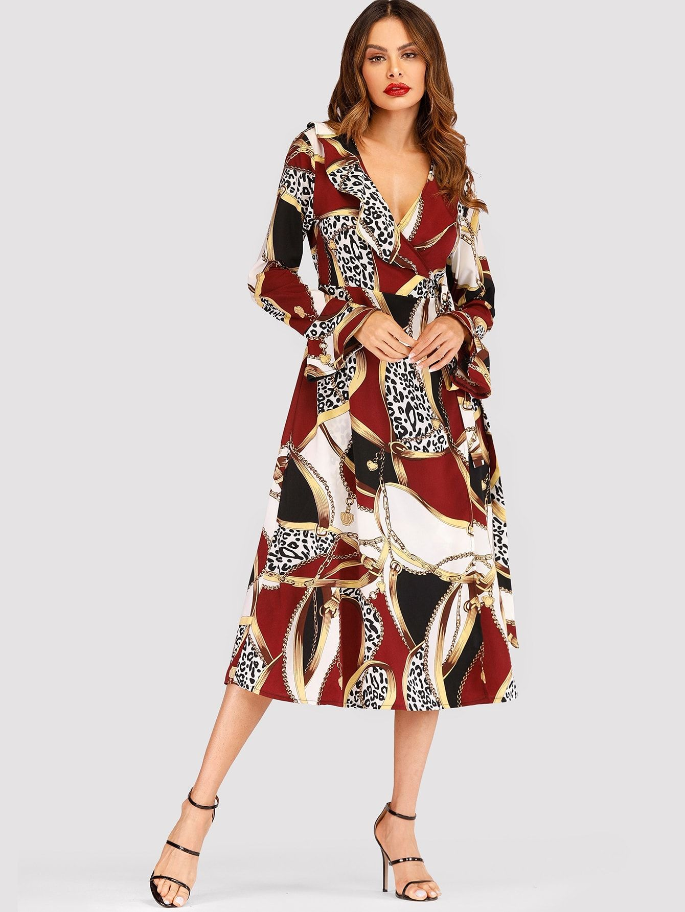 c350886d728 ... Ruffle and Knot Leopard Fit and Flare Trapeze V Neck Long Sleeve Flounce  Sleeve High Waist Multicolor Long Length Scarf Print Ruffle Wrap Self Tie  Dress