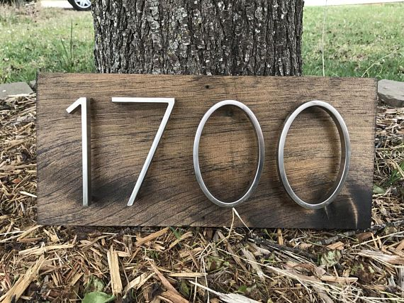 Address Plaque Horizontal Sign Rustic Modern Wood Metal