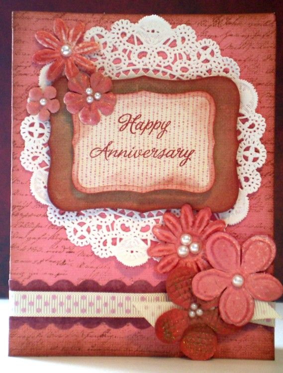 Beautiful Romantic Pink Red Happy Anniversary Card