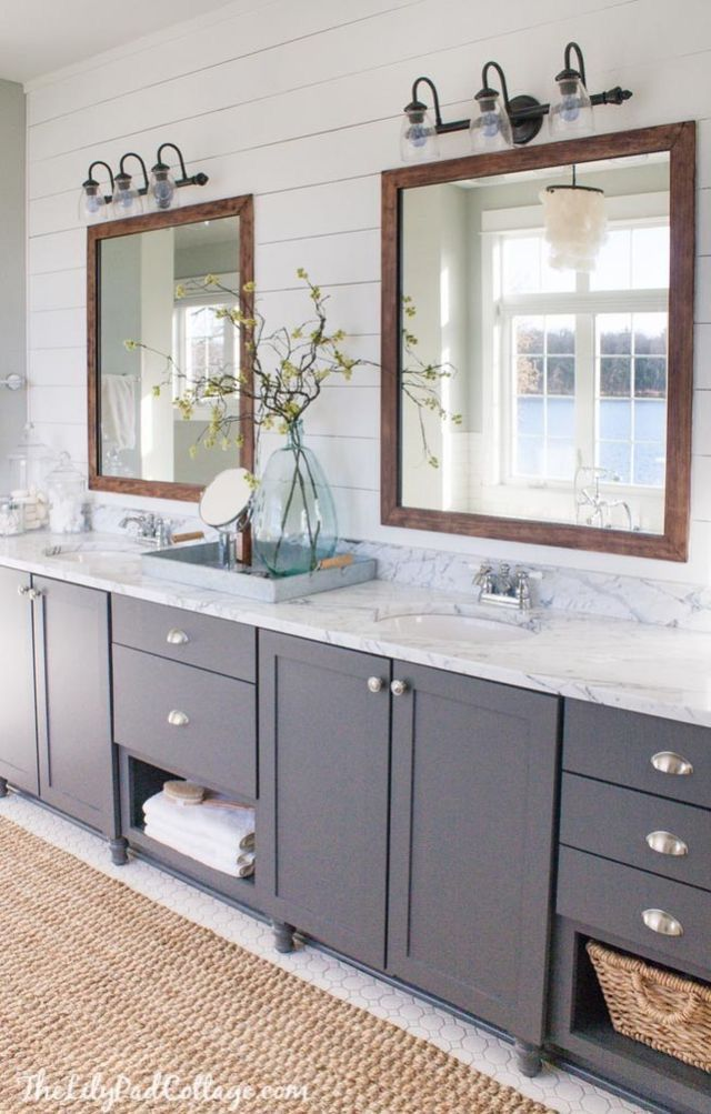 Gray And White Bathroom Wth Wood Framed Mirrors Bathrooms