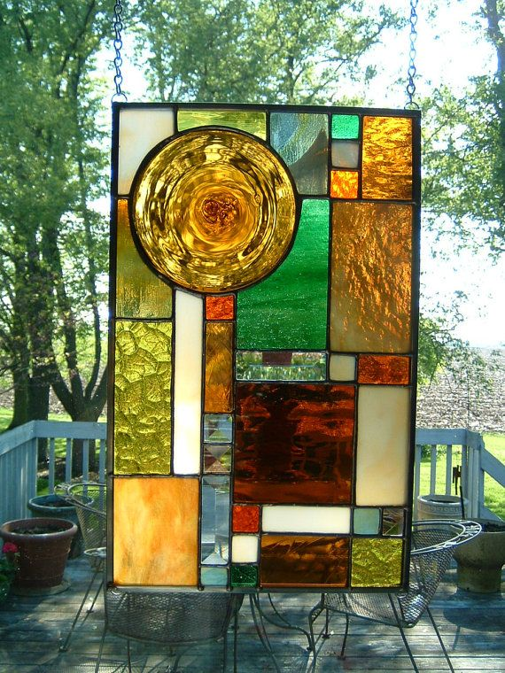 Amber Roundel Prairie Stained Gl Panel Window By Islandgl1