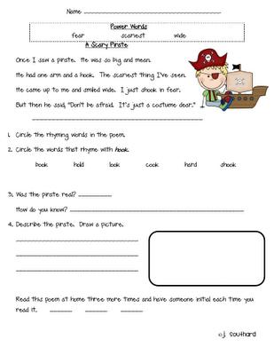 poem.. pirate poem | Reading worksheets, 2nd grade reading ...