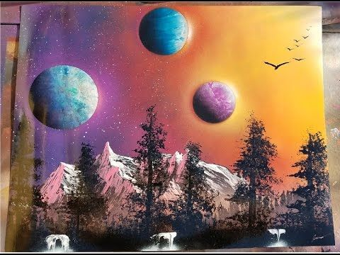 Colorful Galaxy Planet Mountain Landscape Spray Paint Art Tutorial Hyper Landscape Spray Painting Spray Paint Art Galaxy Spray Paint
