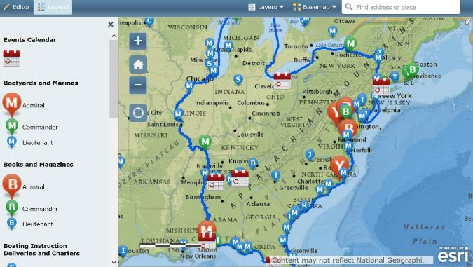 Just Released Aglca S New Interactive Great Loop Map Of The U S Routes Canada Routes Coming Soon Michigan M Find Address Event Calendar