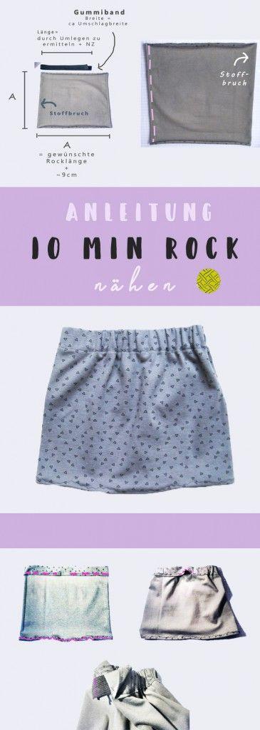 Rock nähen in 10 Minuten - Das Quadrat Schnittmuster #sewins