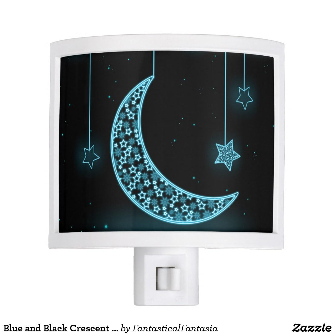 Blue And Black Crescent Moon And Stars Night Light Zazzle Com Star Night Light Night Light Cute Night Lights