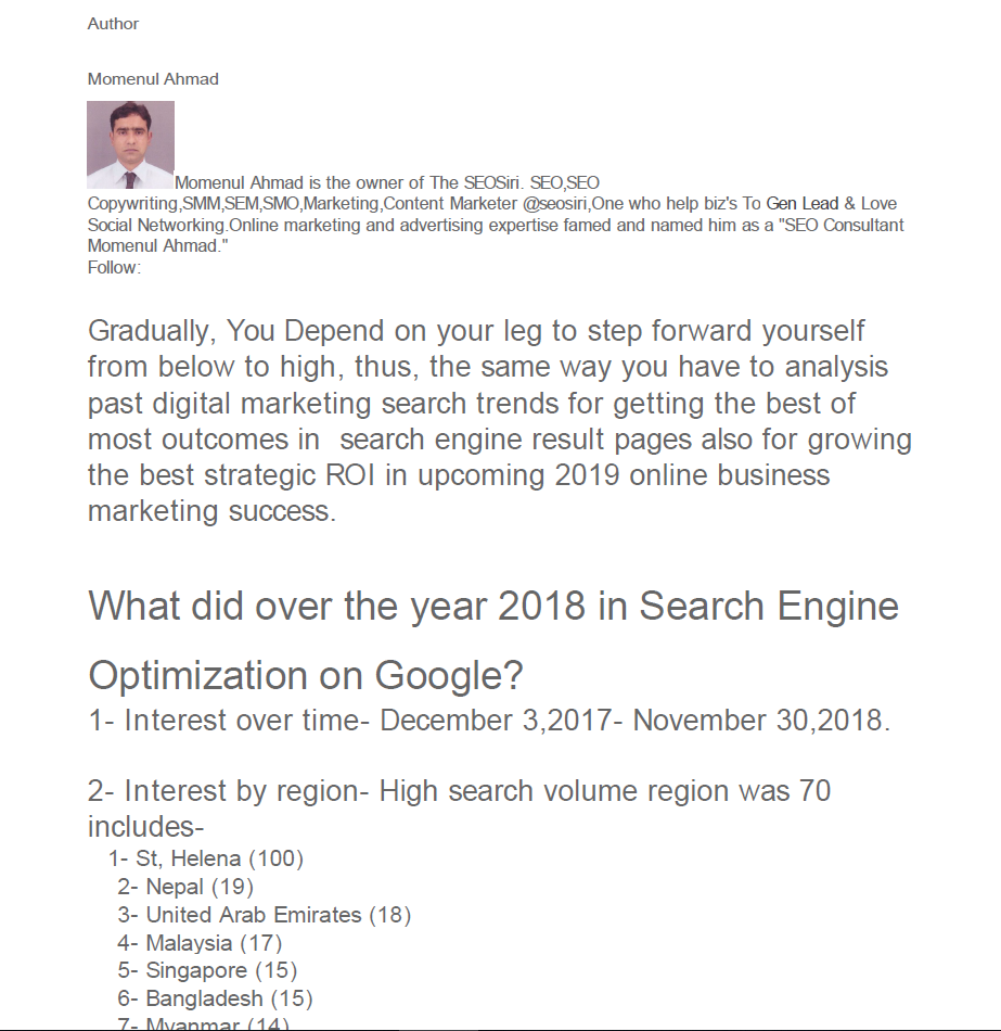 What did over the year 2018 in #SearchEngineOptimization on