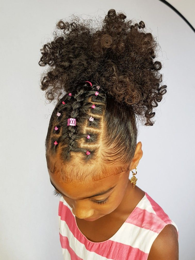 Ponytail With A Twist Hairstyles For Curly Little Girls With
