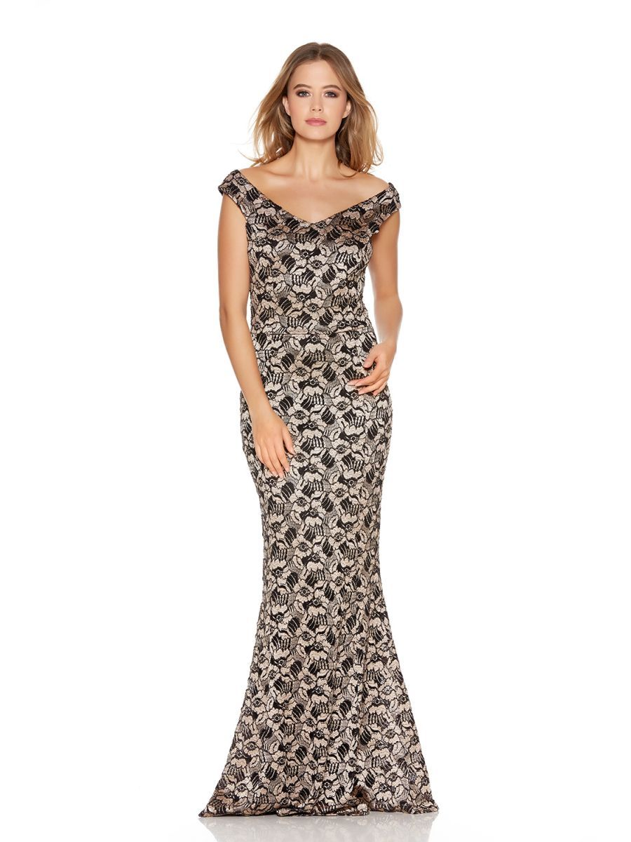 0835a78e560 Gold And Black Glitter Lace Fishtail Maxi Dress - Quiz Clothing ...