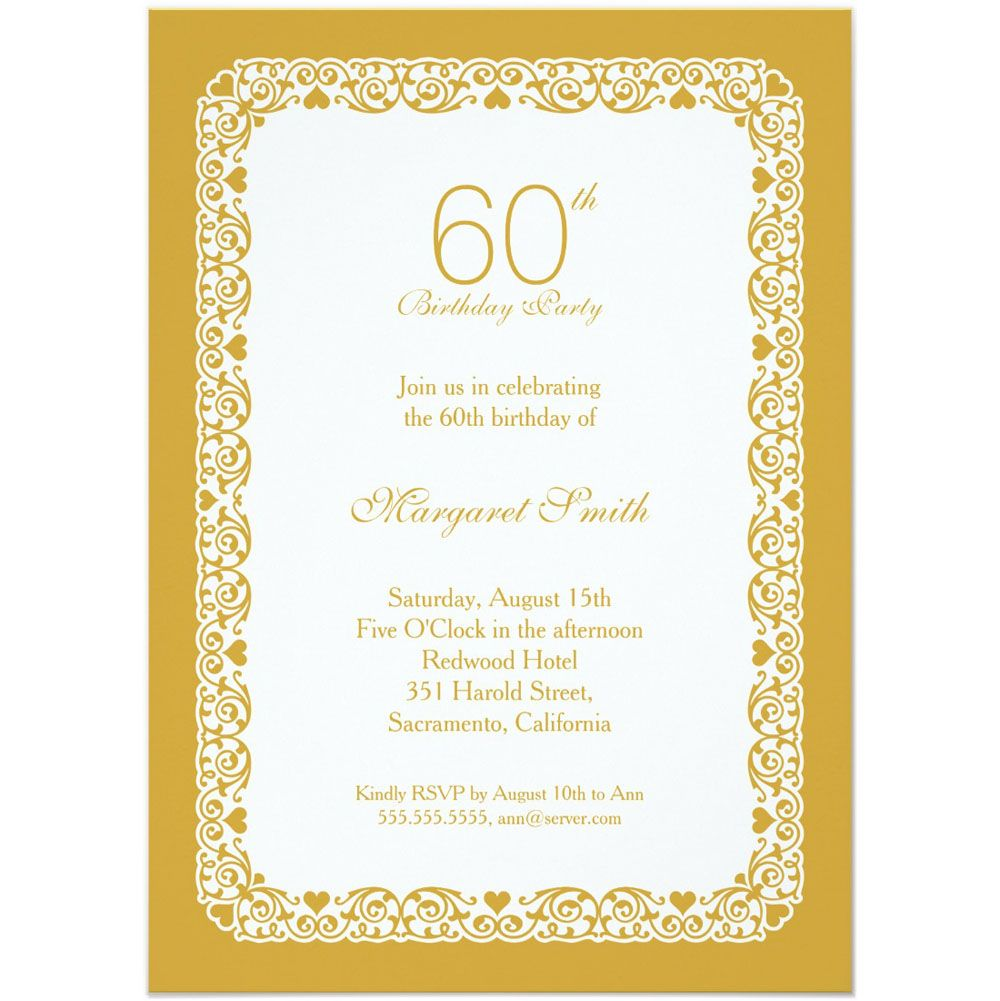Personalized 60th Birthday Party Invitations For Party | Birthday ...