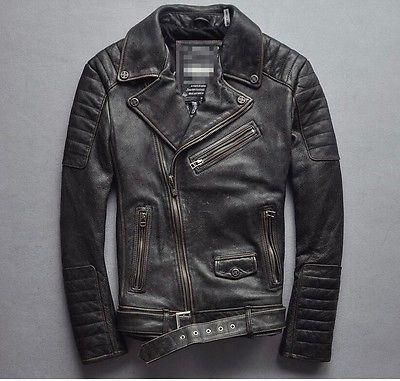 Affliction Motorcycle Leather Men Biker Jacket Pattern Black Genuine Cow Size L Leather Jacket Men Leather Jacket Leather Jacket Style