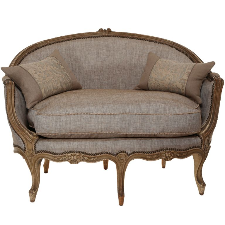 Antique Sofa Loveseat: Late 1800s French Wood Frame Loveseat Settee
