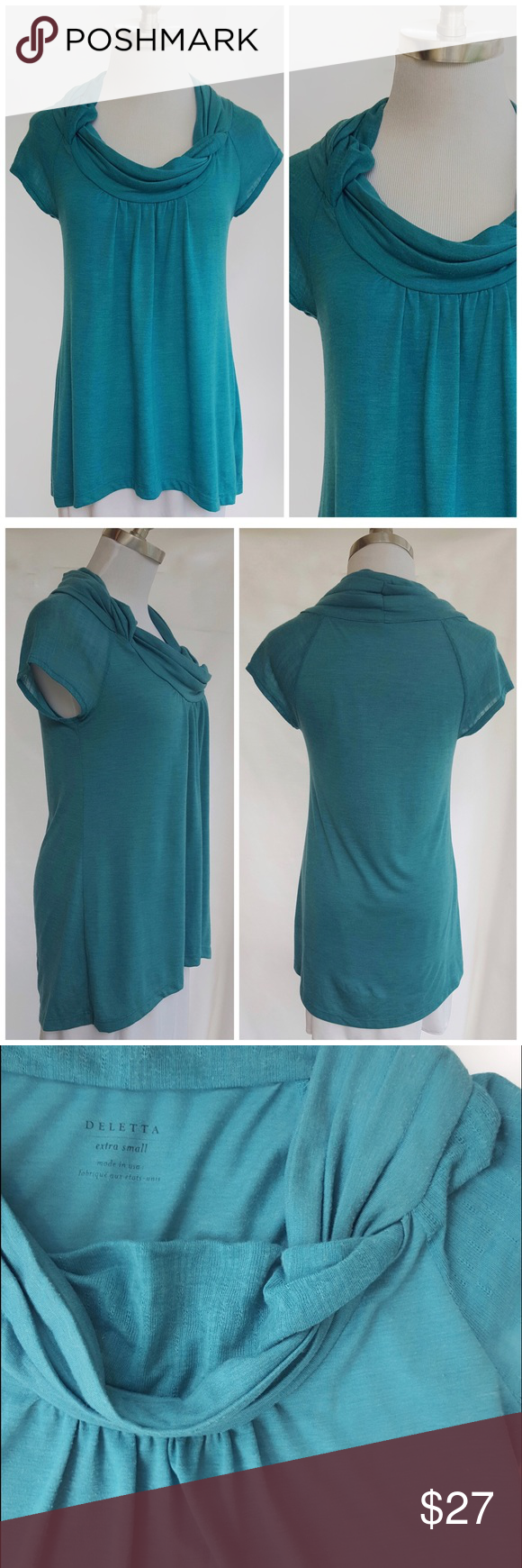 """Anthropologie Deletta / Super Soft Turquoise Beautiful top from Anthropologie by Deletta. Cowl neckline. Super soft and goes with so many things.   Color: blue green  Size: XS (mannequin is a size 2 to 4 for reference)  Underarm to underarm: 15"""" Length shoulder to hem: 25"""" *slightly longer hem in the back.  Fabric Content / Care: poly/rayon--hand wash  Condition:  excellent with very minimal wear. No flaws.  Save with Bundles! Suggested User \ 5 star seller No PP, Merc, Trades or Holds…"""