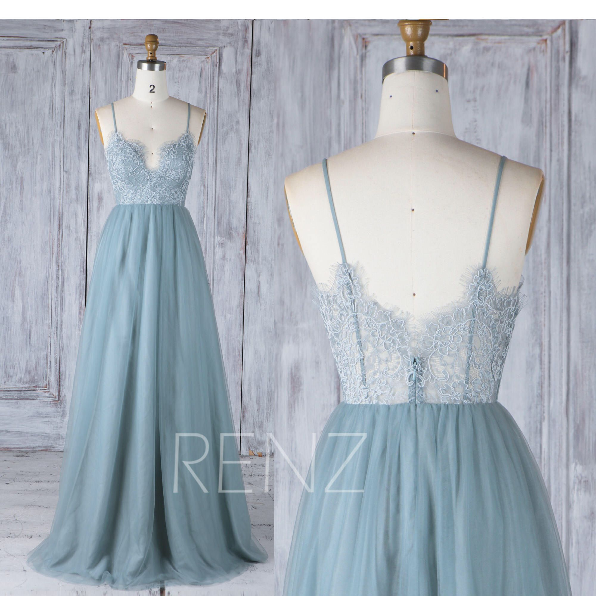 Bridesmaid dress dusty blue tulle wedding dressillusion lace prom