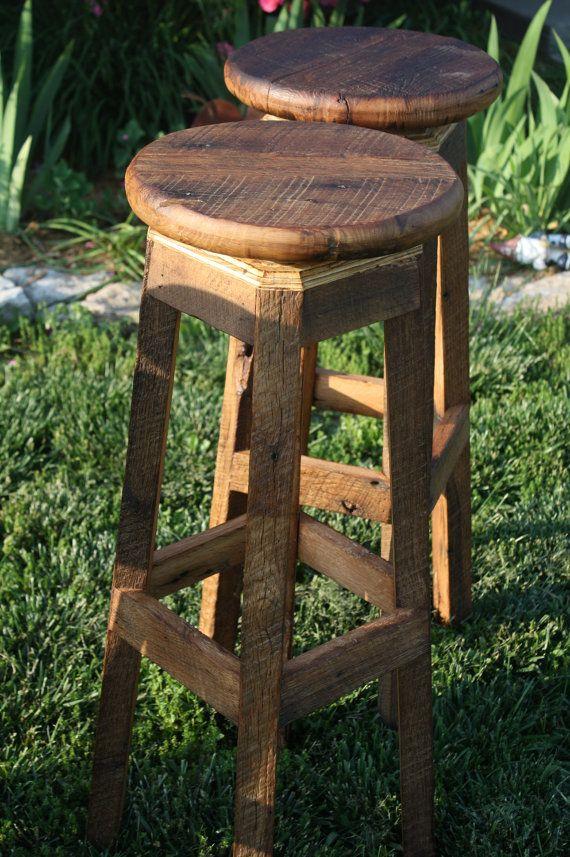 Your Custom Reclaimed Rustic Swivel Oak Barn Wood 18 36 Bar Stool