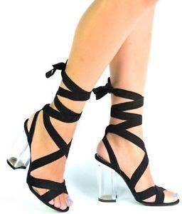ecbbe9f8d54 Maria-1 Tie Up Clear Perspex Block Chunky High heel Open Peep Toe Sandal  Shoe BK