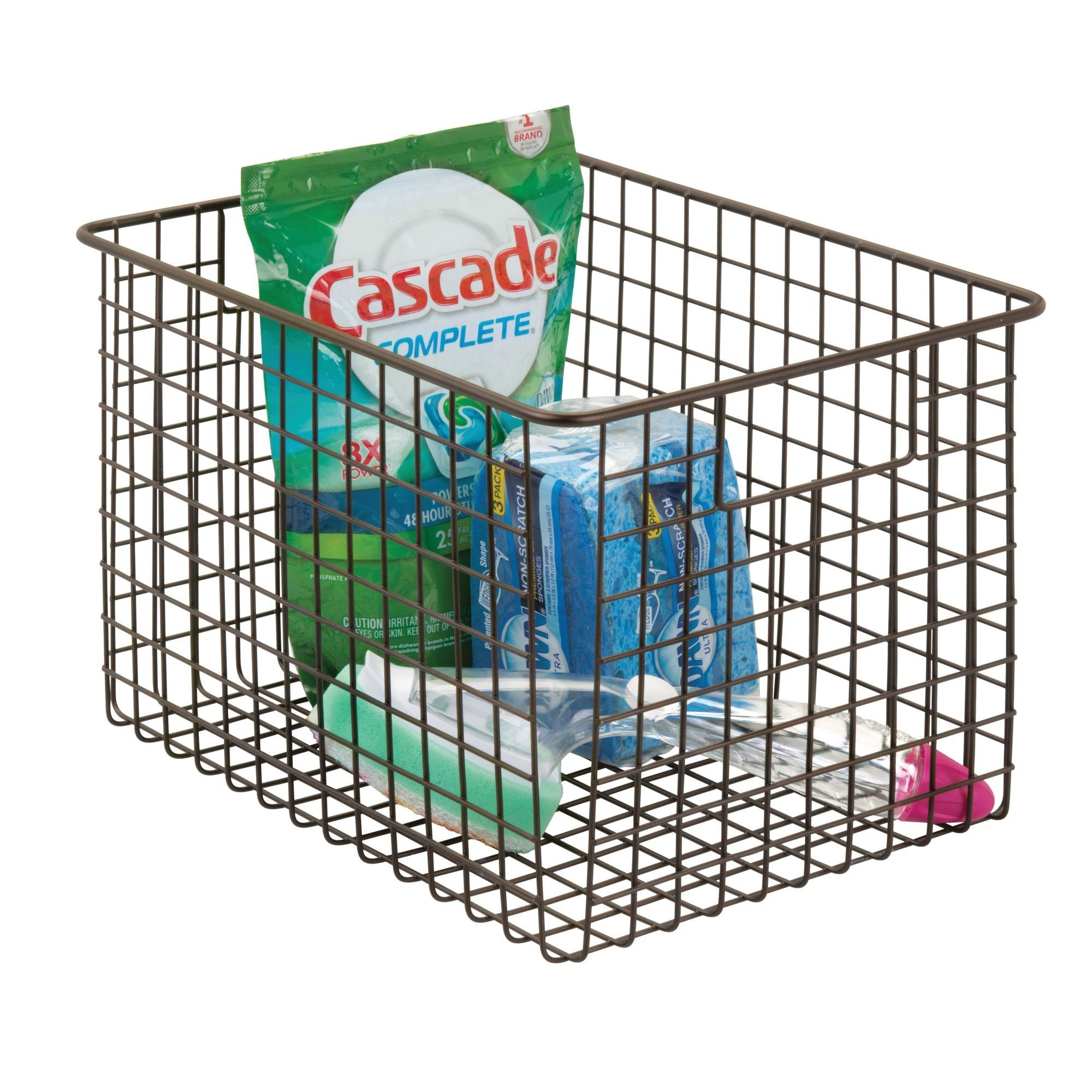 mDesign XLarge Household Wire Storage Organizer Bin Basket with ...