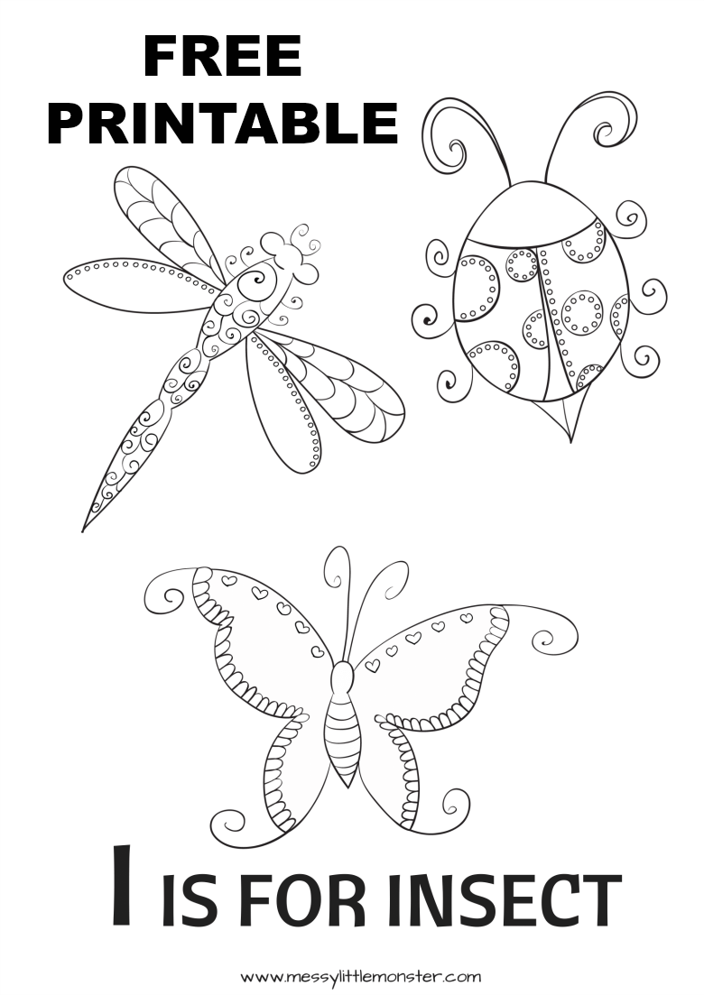 I is for Insect Colouring Page virtual summer camp