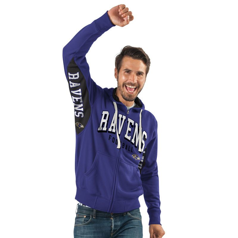 Baltimore Ravens Hands High Home Run Full-Zip Hoodie - Purple