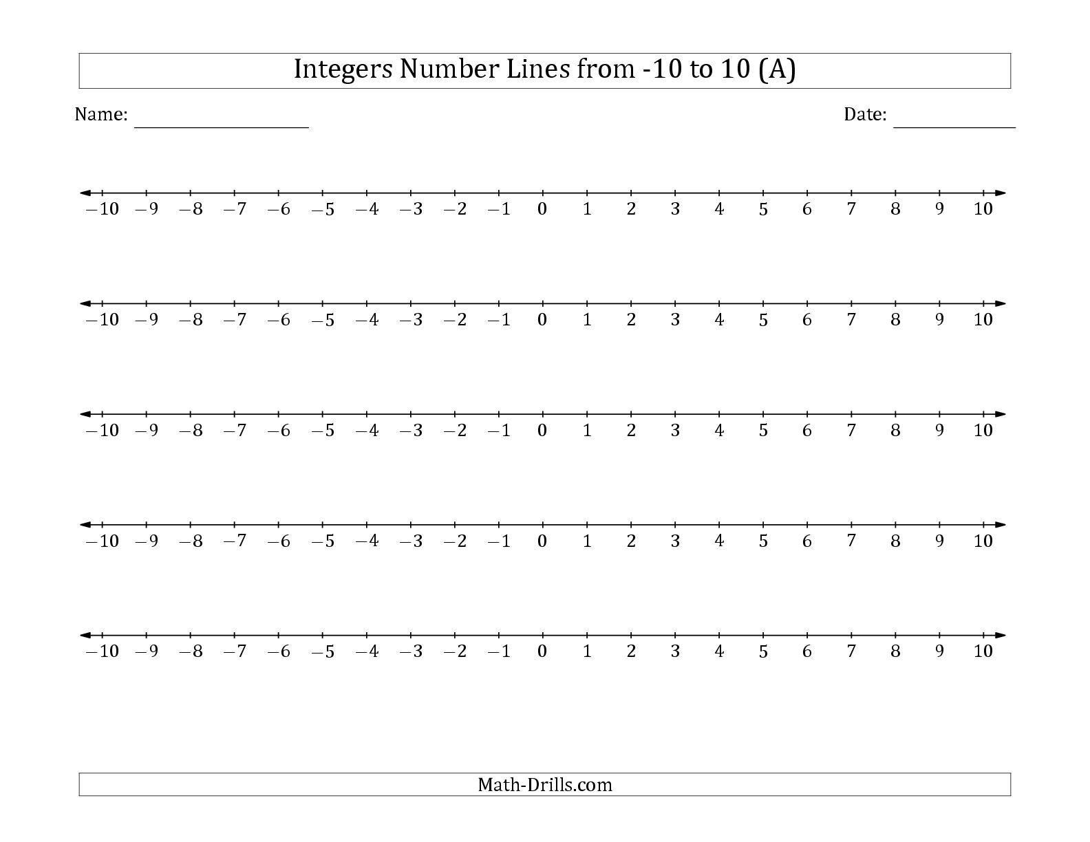 medium resolution of 8 Math Worksheets Grade 7 Free in 2020   Integer number line