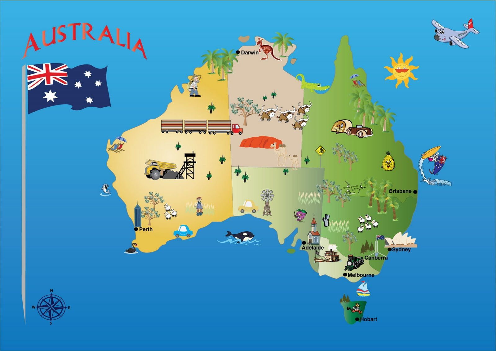 Interesting facts about Australia for kids, a map, flag