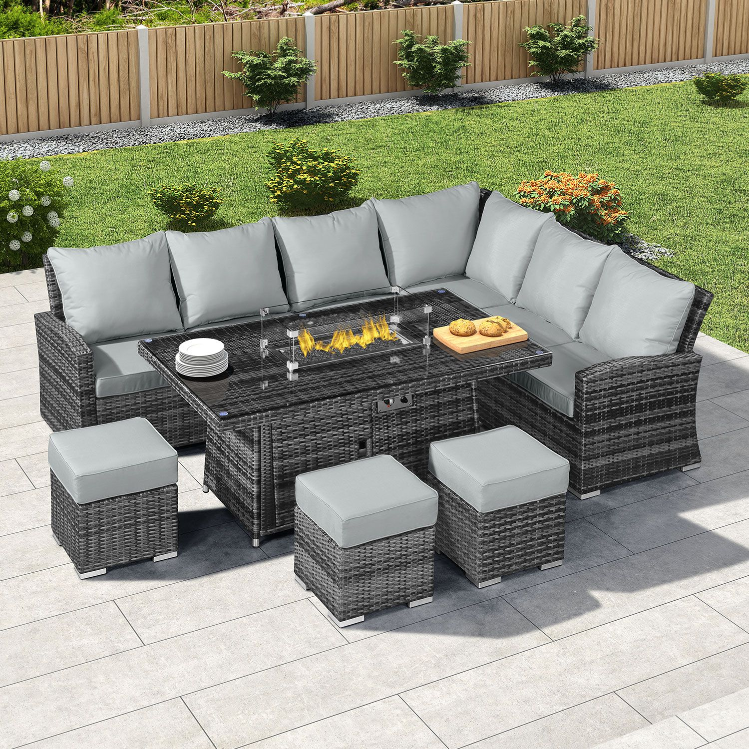 Cambridge Right Hand Casual Dining Corner Sofa Set With Firepit Table In 2020 Fire Pit Table Corner Sofa Set Corner Dining Set