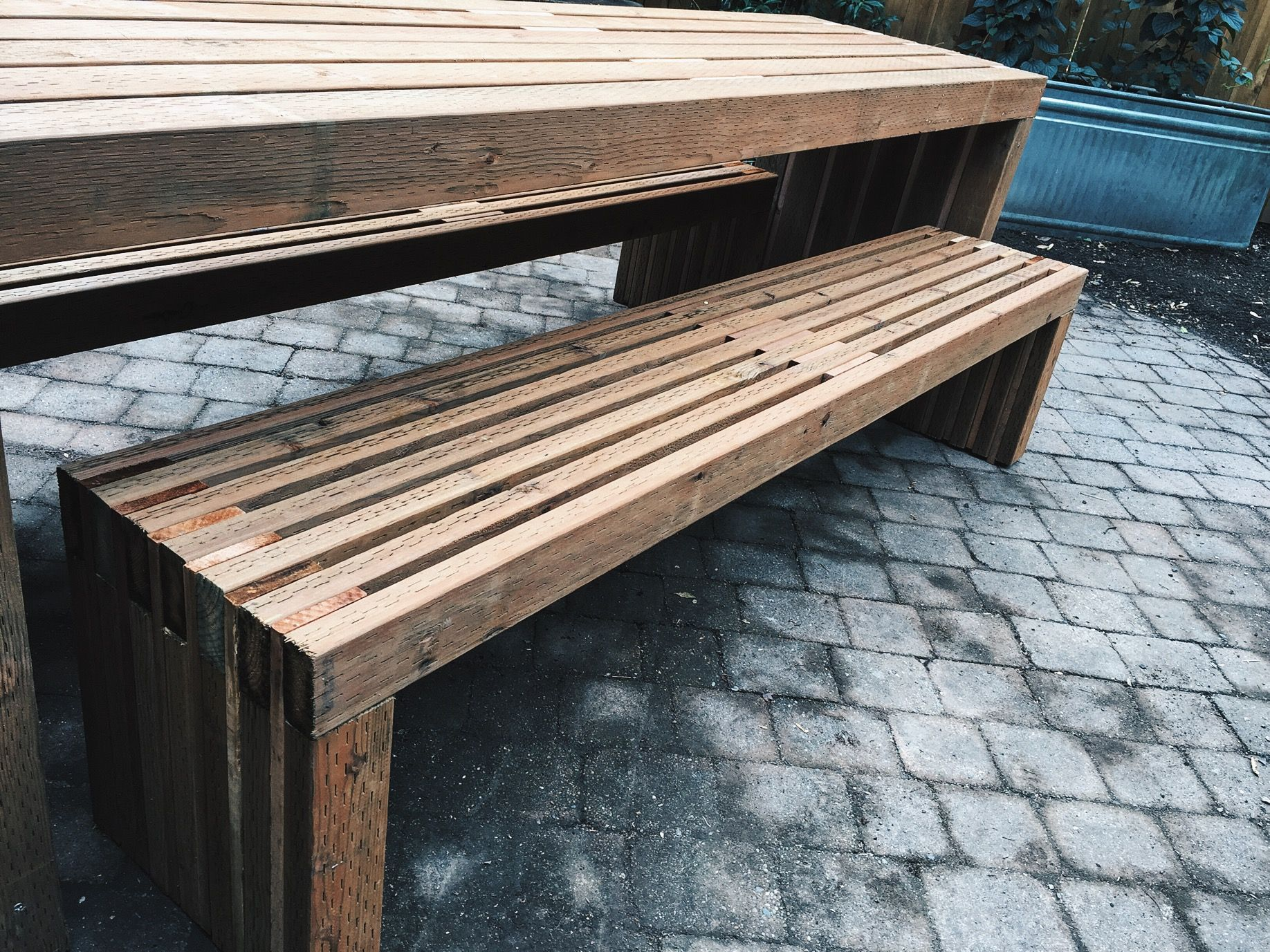 Slat Benches Outdoor Benches Built With Pressure Treated 2x4 S And Cedar Spacers Outdoor Bench Built In Bench Diy Outdoor Furniture