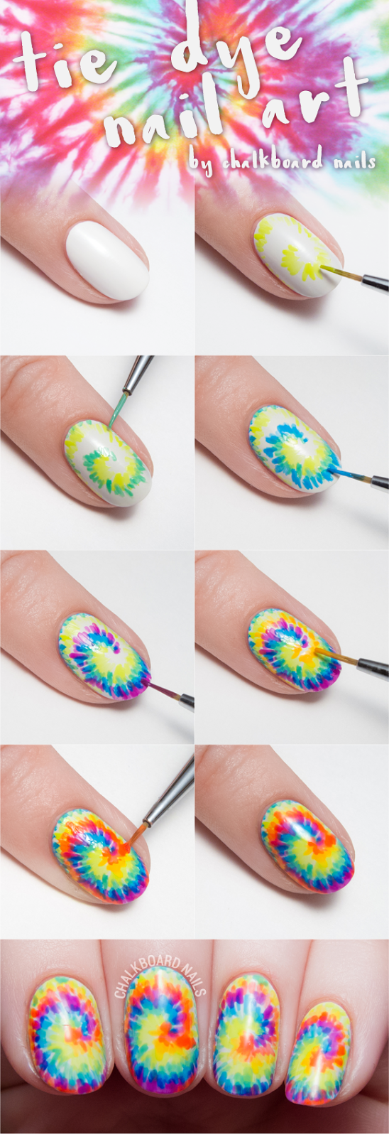 Tie dye nail art tutorial by @chalkboardnails - Fun DIY!