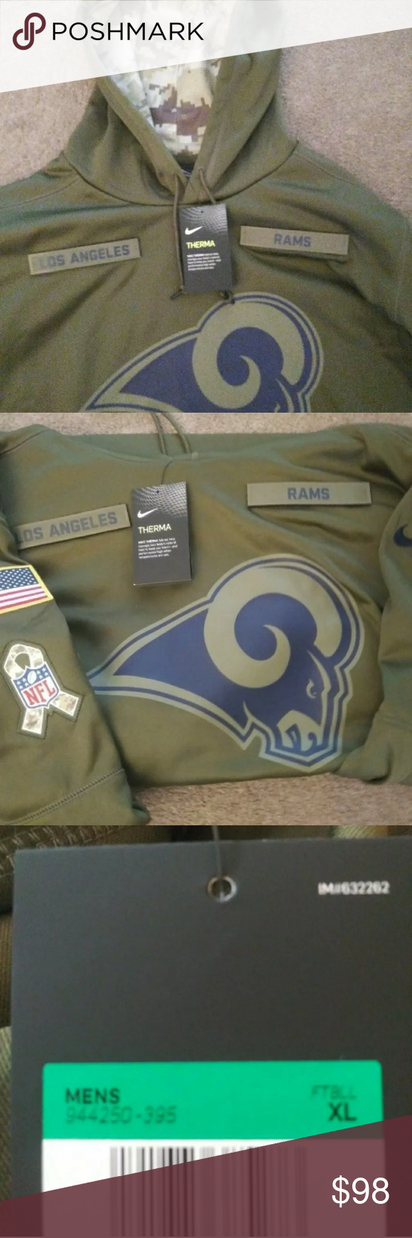 Nike NFL Rams Salute to Service Hoodie Jacket Oliv NFL Rams XL Salute to Service Hoodie NFL Jackets & Coats Lightweight & Shirt Jackets #salutetoservice