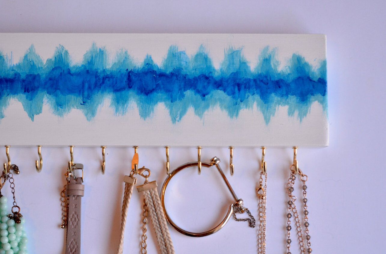 Jewelry Hanger Abstract Painting / Wall Hanging Necklace Organizer / Shades of Blue / Watercolor / Womens Gift / Gold Hooks / LeLee Design by LeLeeDesign on Etsy https://www.etsy.com/listing/240139489/jewelry-hanger-abstract-painting-wall