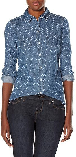 The Limited's polka-dot chambray shirt ($50) would look adorable layered up with a cardigan.