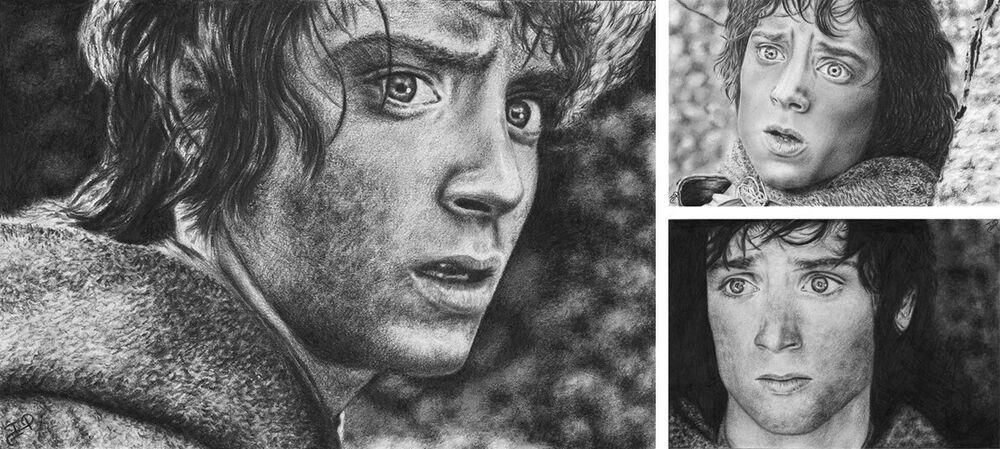 Frodo LotR Elijah Wood Original Graphite Pencil Drawing Lord of the Rings #Realism