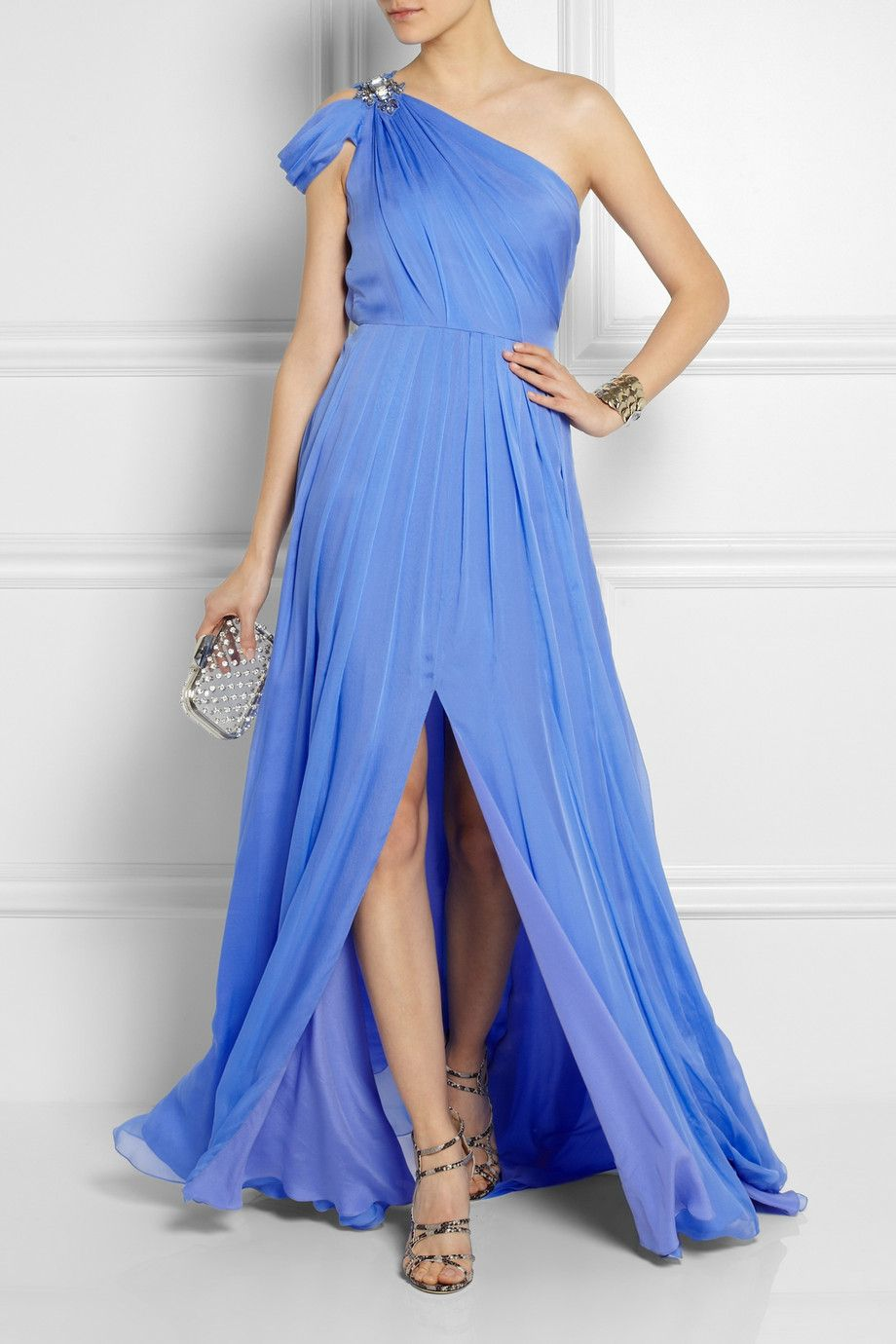 Color azul matthew williamson oneshoulder embellished silk