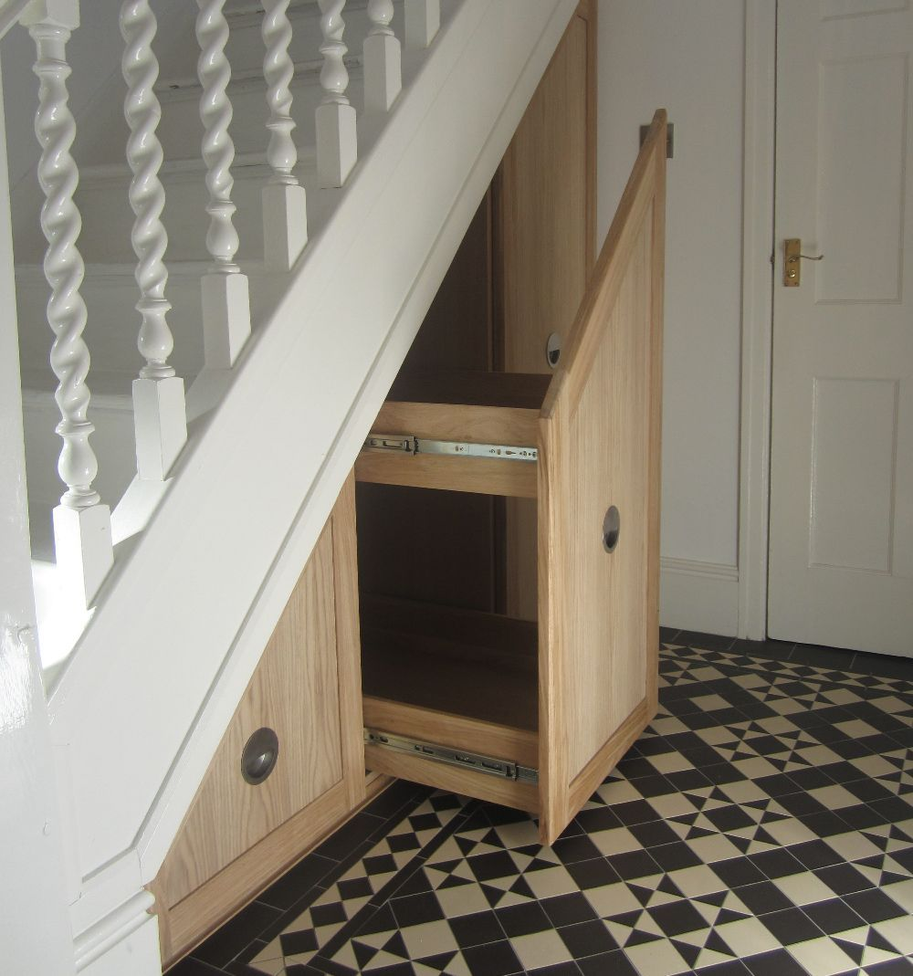 Oak pull out under stairs drawers 1