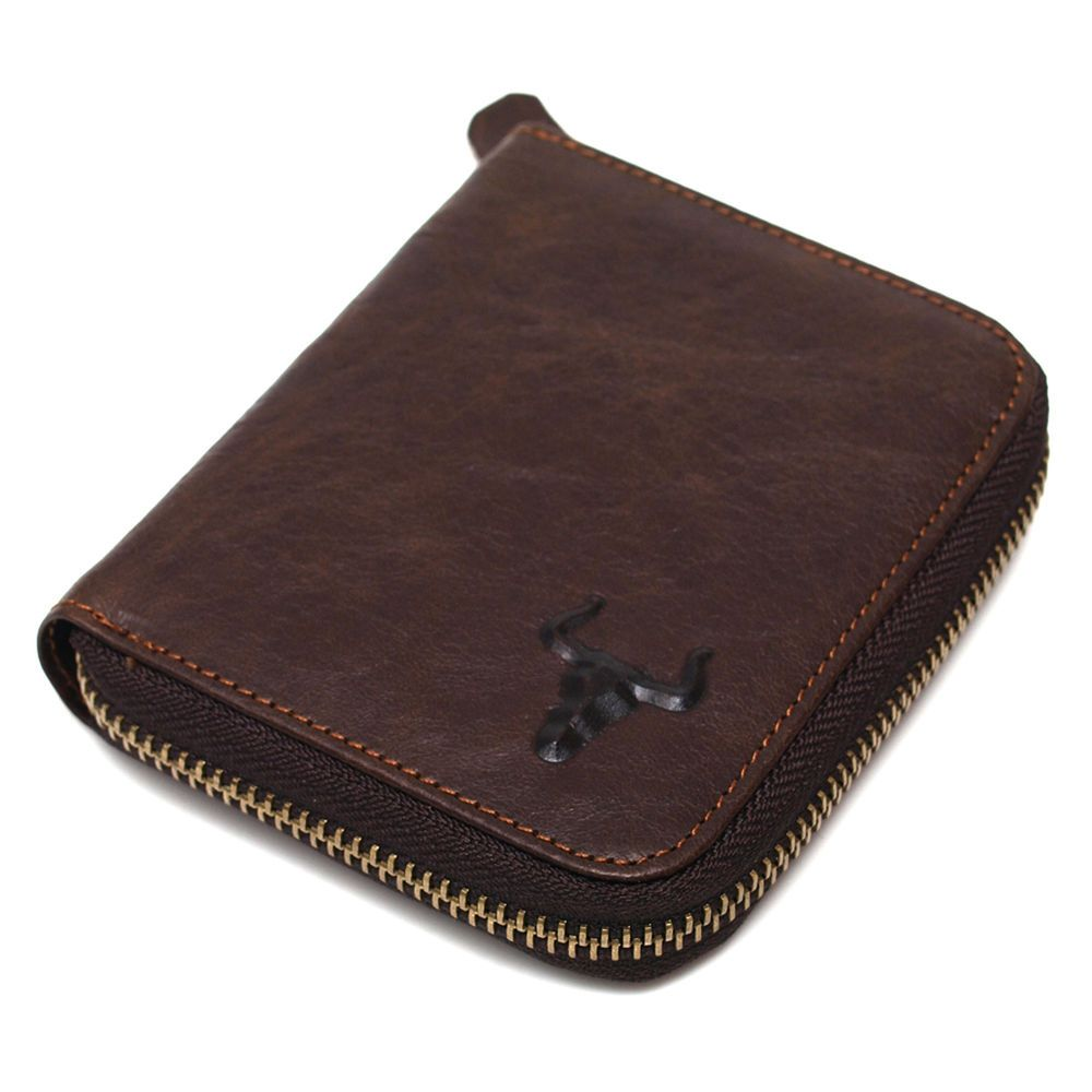 New Mens Vintage Brown Leather Zip Around Bifold Wallet Purse Coin Pouch