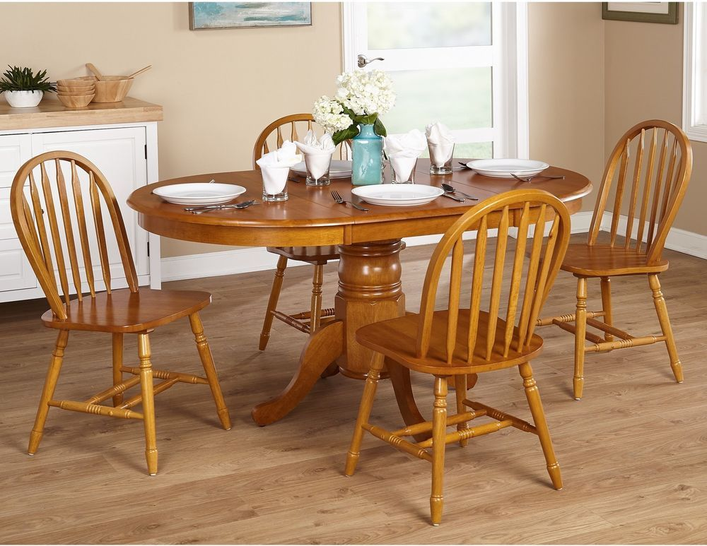 Country Kitchen Farmhouse 5 Piece Oak Dining Room Set  Oak Dining Brilliant Dining Room Chairs Oak Decorating Inspiration