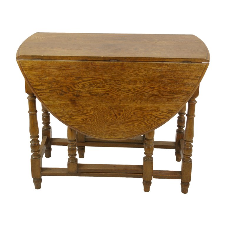 Antique Gateleg Table Oak Oval Drop Leaf Table Scotland 1920s