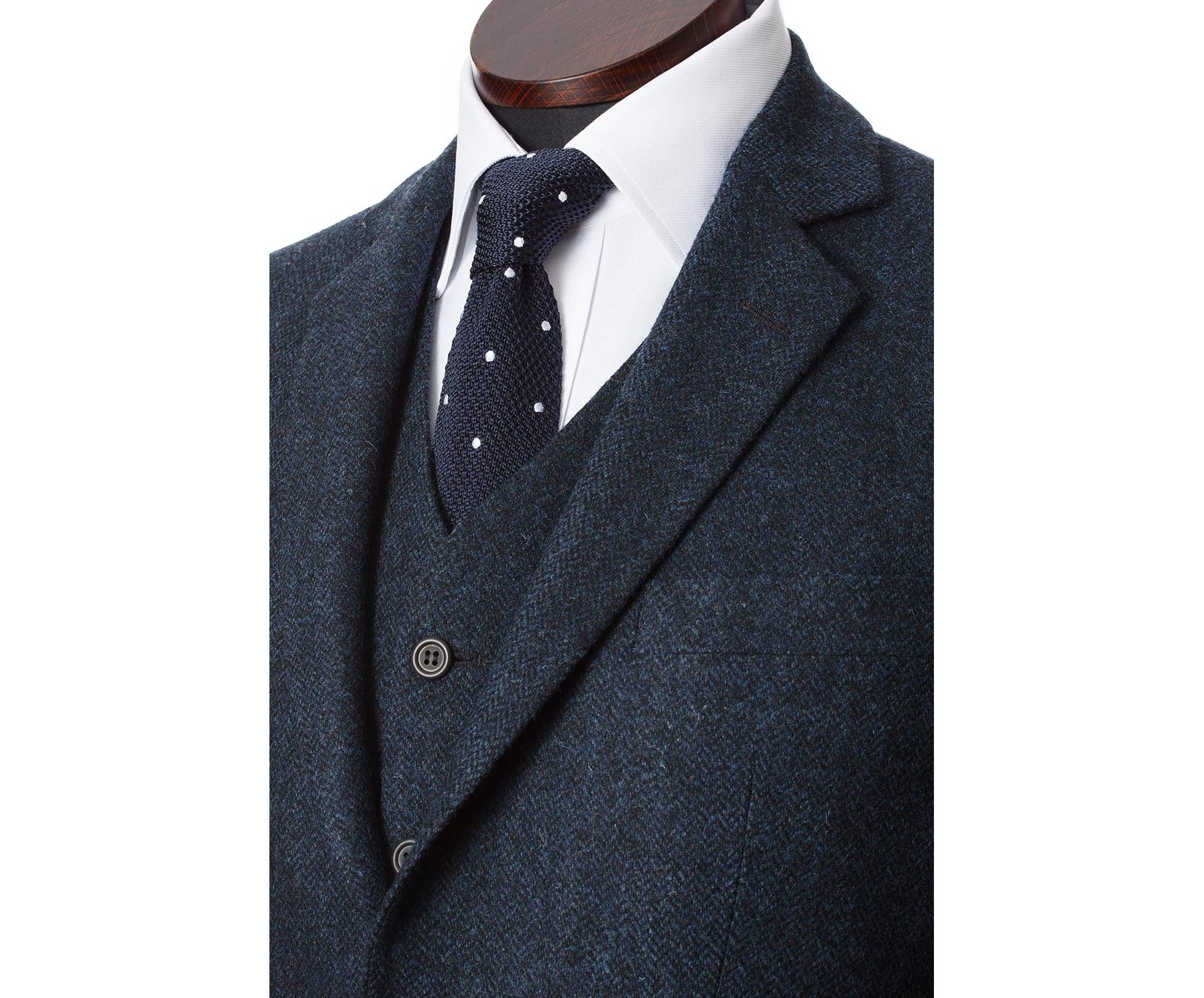 Пиджаки из твида Martin Jacket Navy Fine Herringbone Lambswool