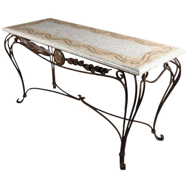 Italian Mosaic Tile Hall Table With Wrought Iron Base 20th