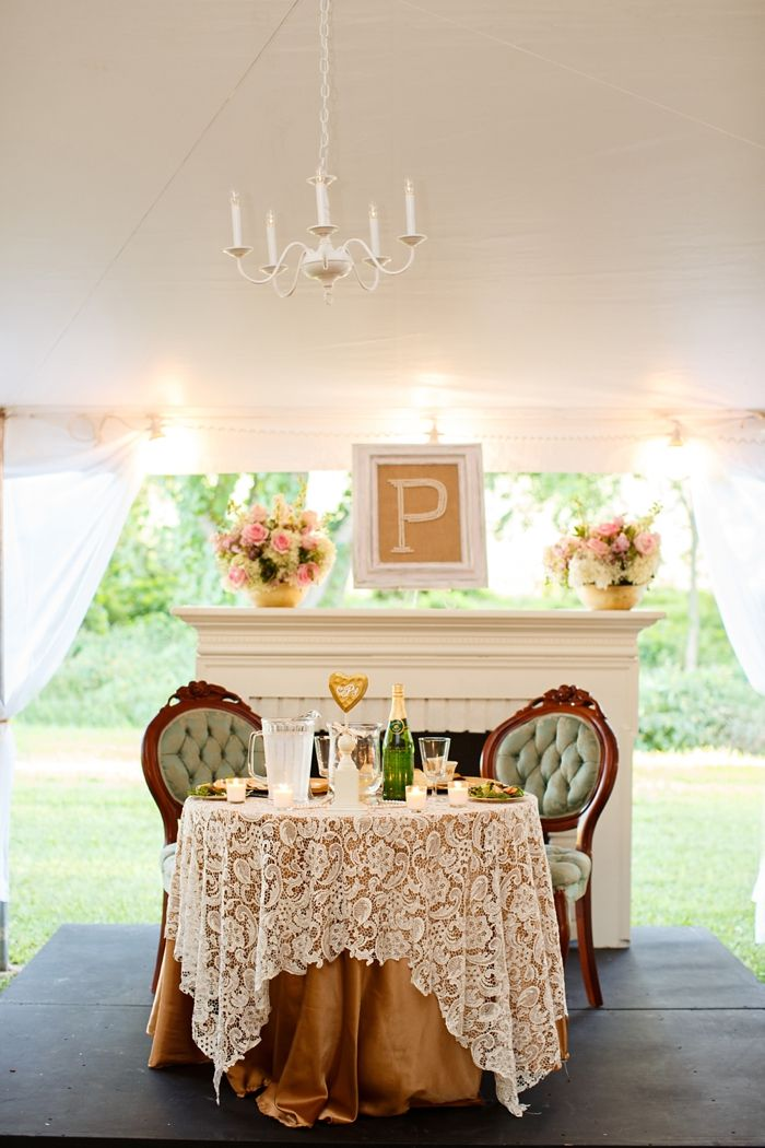 Totally want something like this for my sweetheart table but with possibly black under the lace but I Love the style of chairs! So cute!