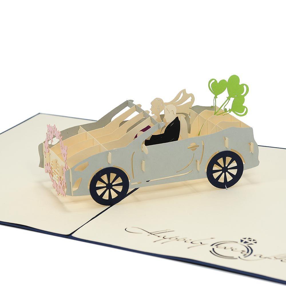 Wedding Car pop up card, custom high quality 3d wedding invitation ...