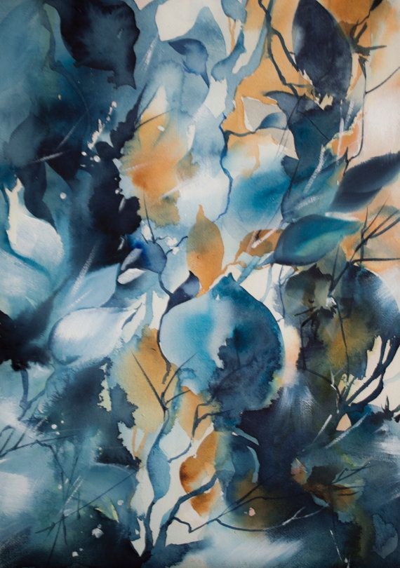 Abstract Blue Floral Intuitive Painting Original Watercolour